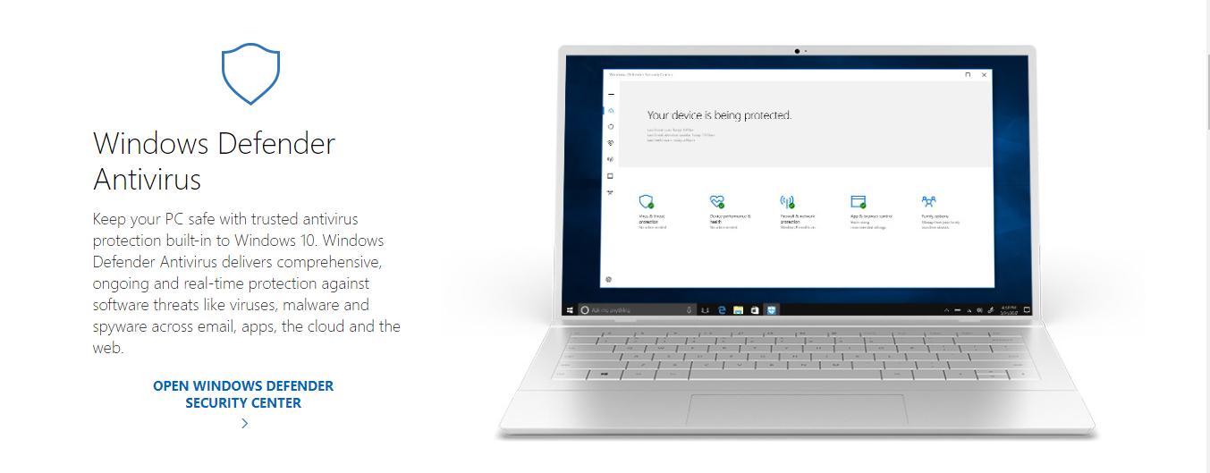 Windows Defender antivirus software for windows 10
