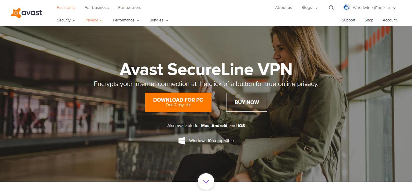 Avast SecureLine VPN Screenshot