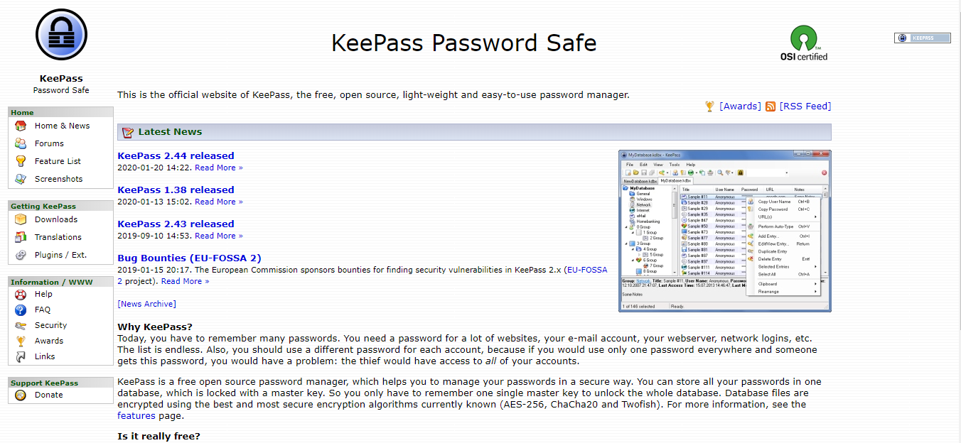 KeePass Screenshot - retaken