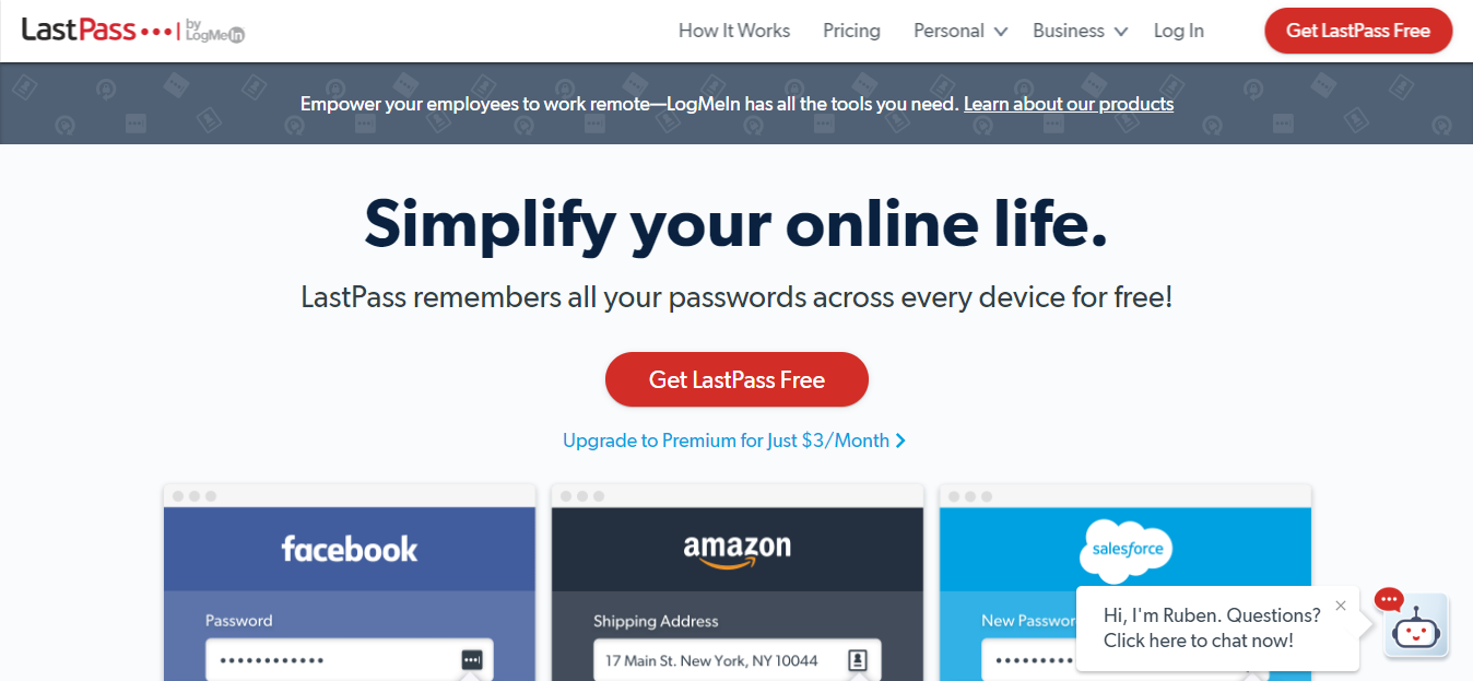 LastPass Homepage Screenshot