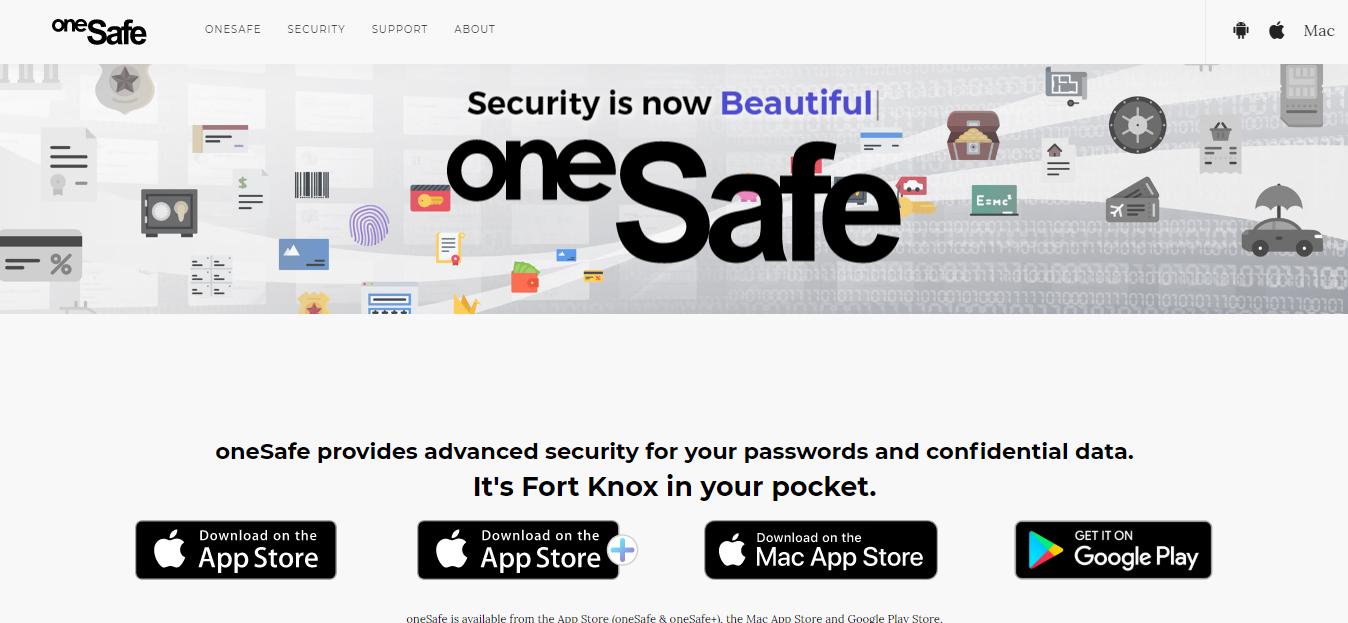 OneSafe homepageScreenshot